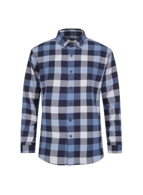 블럭체크 패턴 캐주얼 기모 셔츠 (BL)