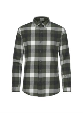 블럭체크 패턴 캐주얼 기모 셔츠 (KH)