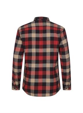 블럭체크 패턴 캐주얼 기모 셔츠 (RD)