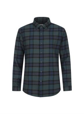 컬러 포인트 체크 웜터치 셔츠 (GN)