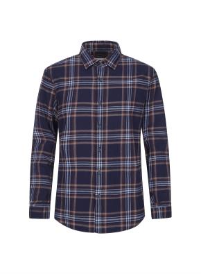 포인트 컬러 체크 웜터치 셔츠