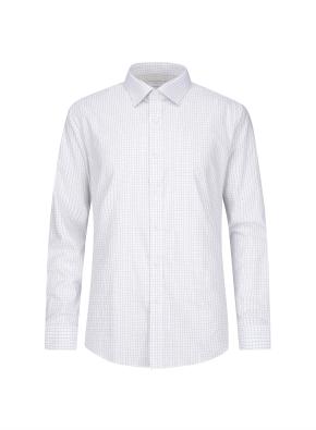 투톤컬러 베이직 체크 패턴 셔츠 (GR)
