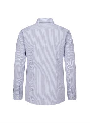 더블 스트라이프 히든버튼다운 슬림핏 셔츠 (BL)