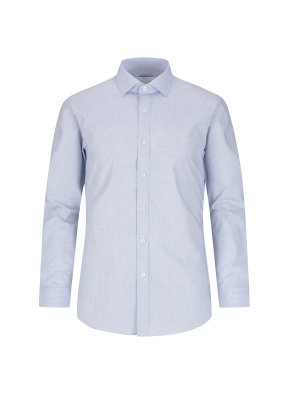 스트레치 면혼방 슬림핏 마이크로체크 드레스셔츠 (NV)