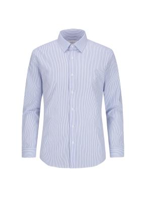면혼방 슬림핏 스트라이프 드레스셔츠 (BL)