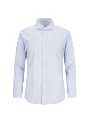 스트레치 면혼방 슬림핏 체크 드레스 셔츠 (BL)
