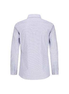 스트레치 면혼방 슬림핏 체크 드레스 셔츠 (NV)