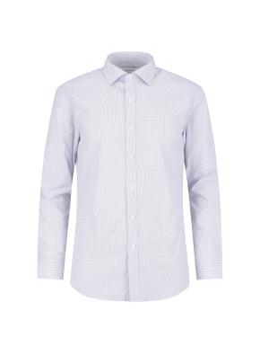 면혼방 슬림핏 체크 드레스셔츠 (GR)
