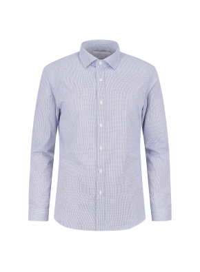 면혼방 슬림핏 체크 드레스셔츠 (NV)