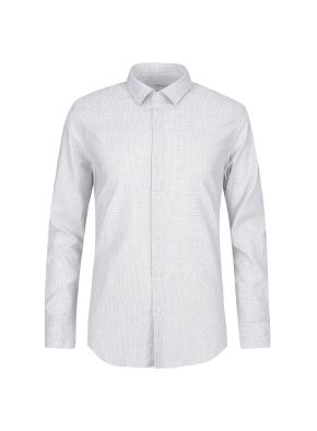 스트레치 면혼방 슬림핏 미니체크 드레스셔츠 (GR)