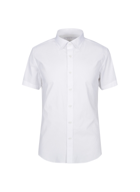 스트레치 면혼방 슬림핏 솔리드 반팔 드레스셔츠 (WT)