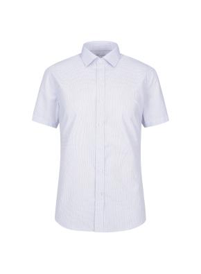 면혼방 슬림핏 미니체크 반팔 드레스셔츠 (BL)