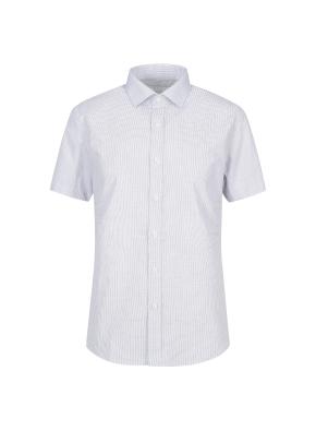 면혼방 슬림핏 미니체크 반팔 드레스셔츠 (NV)