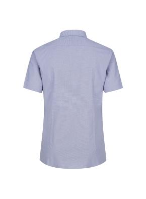 스트레치 면혼방 슬림핏 마이크로체크 반팔 드레스스셔츠 (NV)