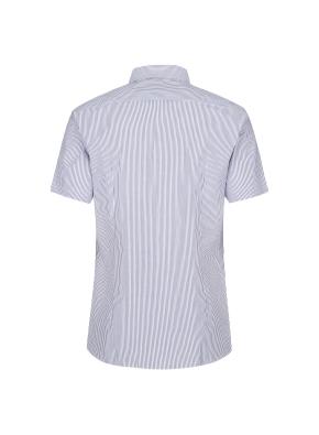 스트레치 면혼방 슬림핏 스트라이프 반팔 드레스셔츠