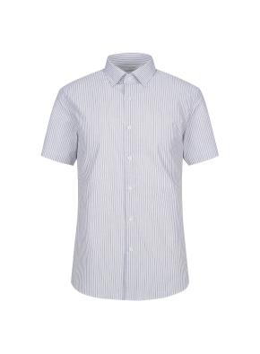 스트레치 면혼방 슬림핏 스트라이프 반팔 드레스셔츠 (GR)