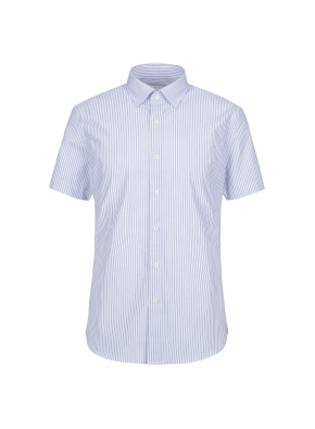 스트레치 면혼방 슬림핏 스트라이프 반팔 드레스셔츠 (NV)