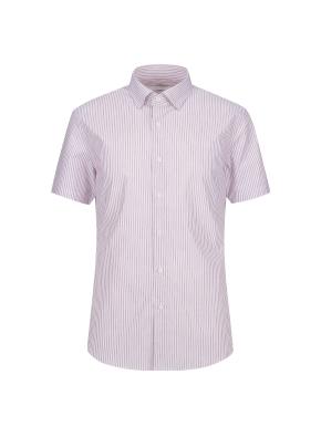 스트레치 면혼방 슬림핏 스트라이프 반팔 드레스셔츠 (RD)