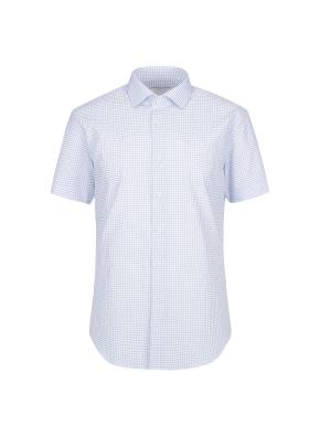 스트레치 면혼방 슬림핏 체크 반팔 드레스셔츠 (BL)