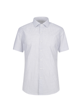 스트레치 면혼방 슬림핏 체크 반팔 드레스셔츠 (NV)