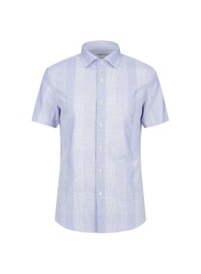 순면 슬림핏 체크도비 반팔 드레스셔츠 (BL)