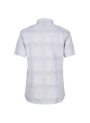 순면 슬림핏 체크도비 반팔 드레스셔츠 (GR)