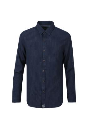 트윌 스트라이프 데님 셔츠 (NV)