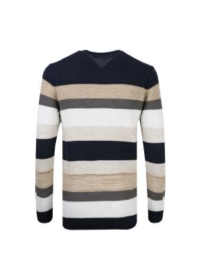 스트라이프 라운드 스웨터 (BE)