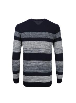 스트라이프 라운드 스웨터 (BL)
