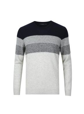 울혼방 블록 스웨터 (GR)