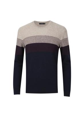 울혼방 블록 스웨터 (NV)