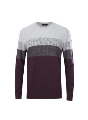 울혼방 블록 스웨터 (PK)