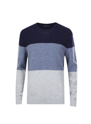 울혼방 3단 빅 블록 스웨터 (BL)
