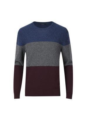 울혼방 3단 빅 블록 스웨터 (WN)