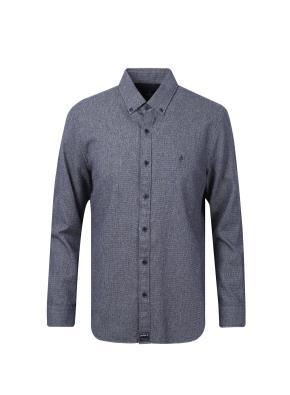 코튼 솔리드 스탠다드 핏 셔츠 (NV)