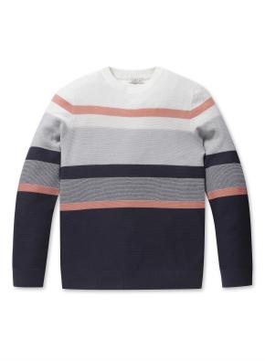 워셔블 블록 라운드 스웨터 (PK)