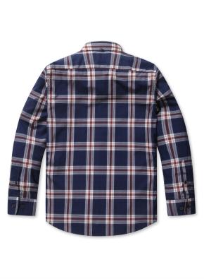 컬러 타탄 체크 스탠다드 셔츠 (NV)