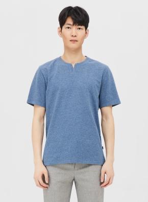 리플 슬릿넥 반팔 티셔츠 (BL)