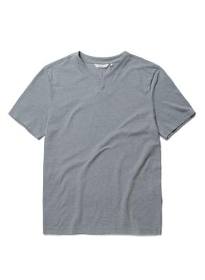 리플 슬릿넥 반팔 티셔츠 (GN)