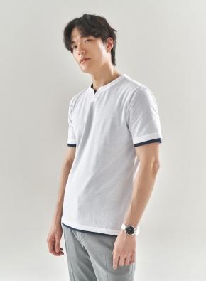 리플 슬릿넥 반팔 티셔츠 (WT)