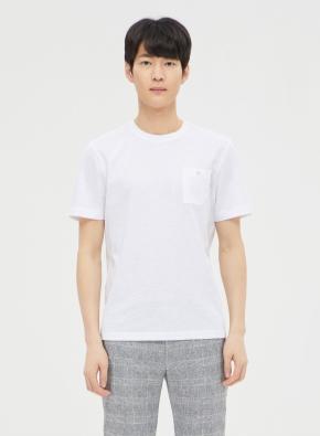 수피마 슬럽 포켓 라운드 반팔 티셔츠 (WT)