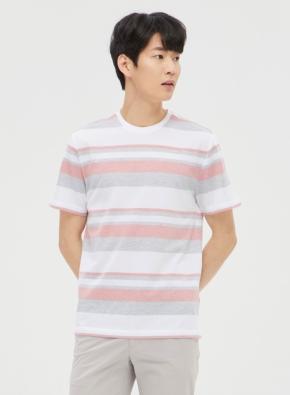 피케 스트라이프 라운드 티셔츠 (PK)