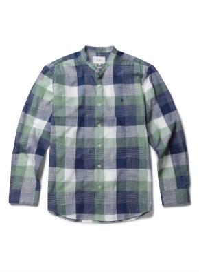 미디움 체크 슬럽 밴드형 셔츠 (GN)