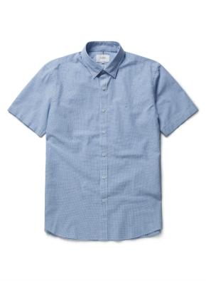 린넨 이지케어 미니 체크 반팔 셔츠 (BL)