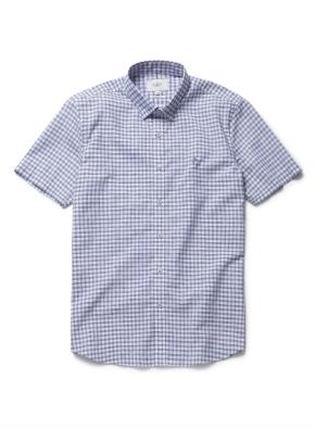린넨 이지케어 깅엄체크 반팔 셔츠 (BL)