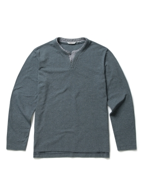 리플 넥변형 레이어드 티셔츠