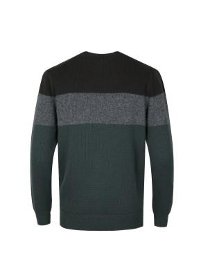 컬러 배색 라운드 스웨터 (KH)