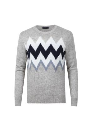 알파카혼방 지그재그 조직 스웨터