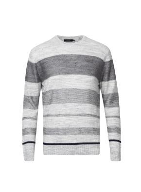린넨혼방 블록 스트라이프 스웨터  (GR)