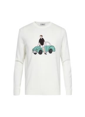 [클리어런스] 면혼방 올리버 아플리케 스웨터